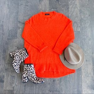Zara Knit Bright Orange Oversized Chunky Sweater